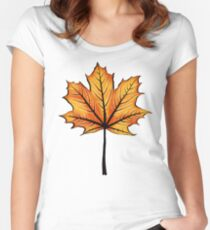 Yellow Orange Autumn Leaf On Blue | Decorative Botanical Art Women's Fitted Scoop T-Shirt