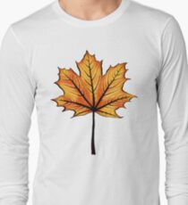 Yellow Orange Autumn Leaf On Blue | Decorative Botanical Art Long Sleeve T-Shirt