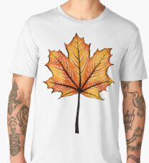 Yellow Orange Autumn Leaf On Blue | Decorative Botanical Art Men's Premium T-Shirt