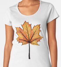 Yellow Orange Autumn Leaf On Blue   Decorative Botanical Art Women's Premium T-Shirt