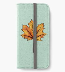 Yellow Orange Autumn Leaf On Blue | Decorative Botanical Art iPhone Wallet/Case/Skin