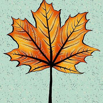 Yellow Orange Autumn Leaf On Blue | Decorative Botanical Art by azzza
