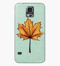 Yellow Orange Autumn Leaf On Blue | Decorative Botanical Art Case/Skin for Samsung Galaxy
