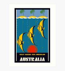 Great Barrier Reef Australia travel advertising Art Print