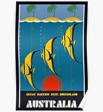 Great Barrier Reef Australia travel advertising Poster