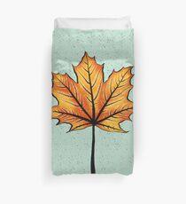 Yellow Orange Autumn Leaf On Blue | Decorative Botanical Art Duvet Cover