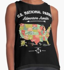 Nationalpark-Karten-Weinlese-T-Shirt - alle 59 Nationalparks Ärmelloses Top