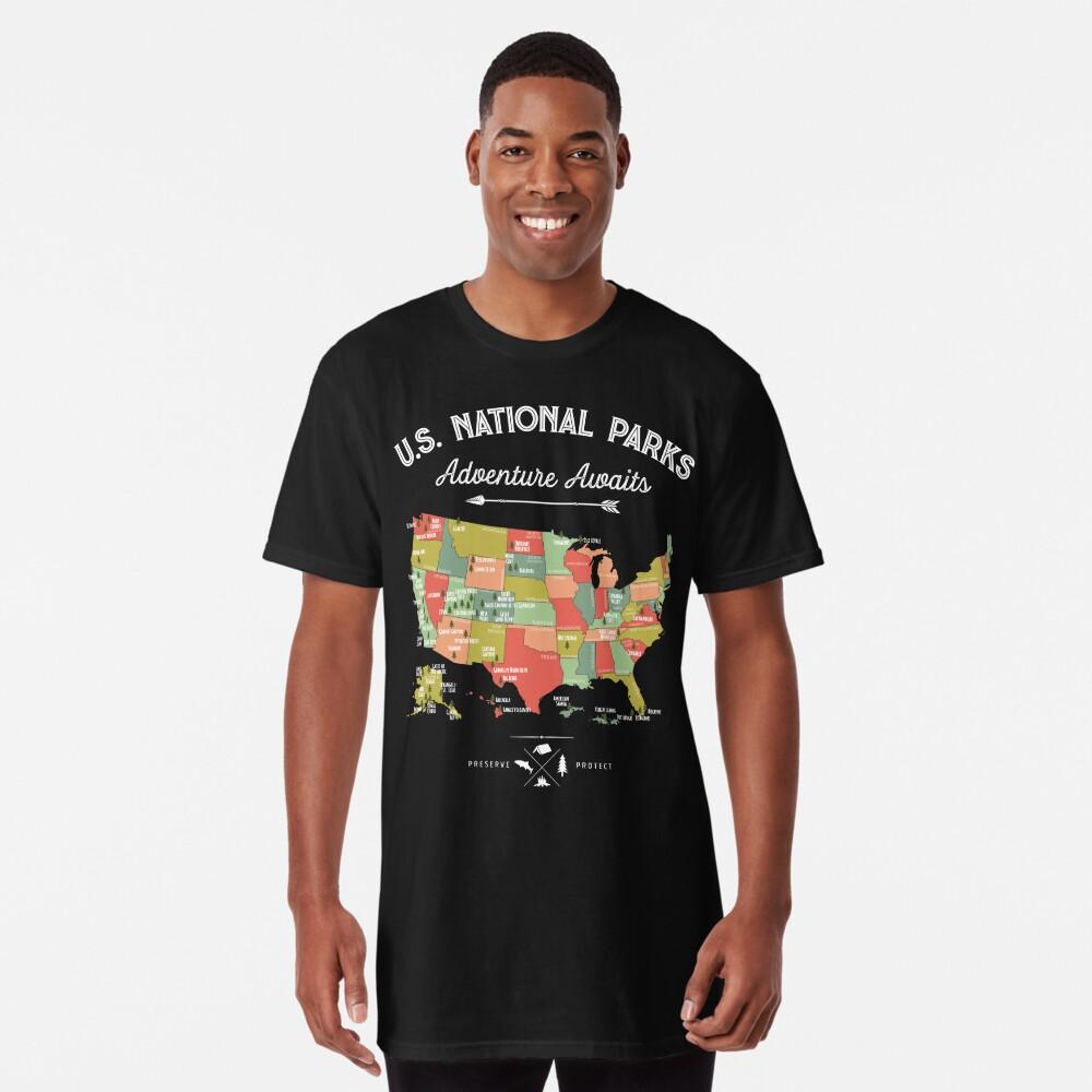 National Park Map Vintage T Shirt - All 59 National Parks Long T-Shirt