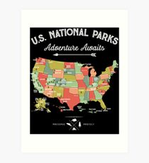 National Park Map Vintage T Shirt - All 59 National Parks Art Print