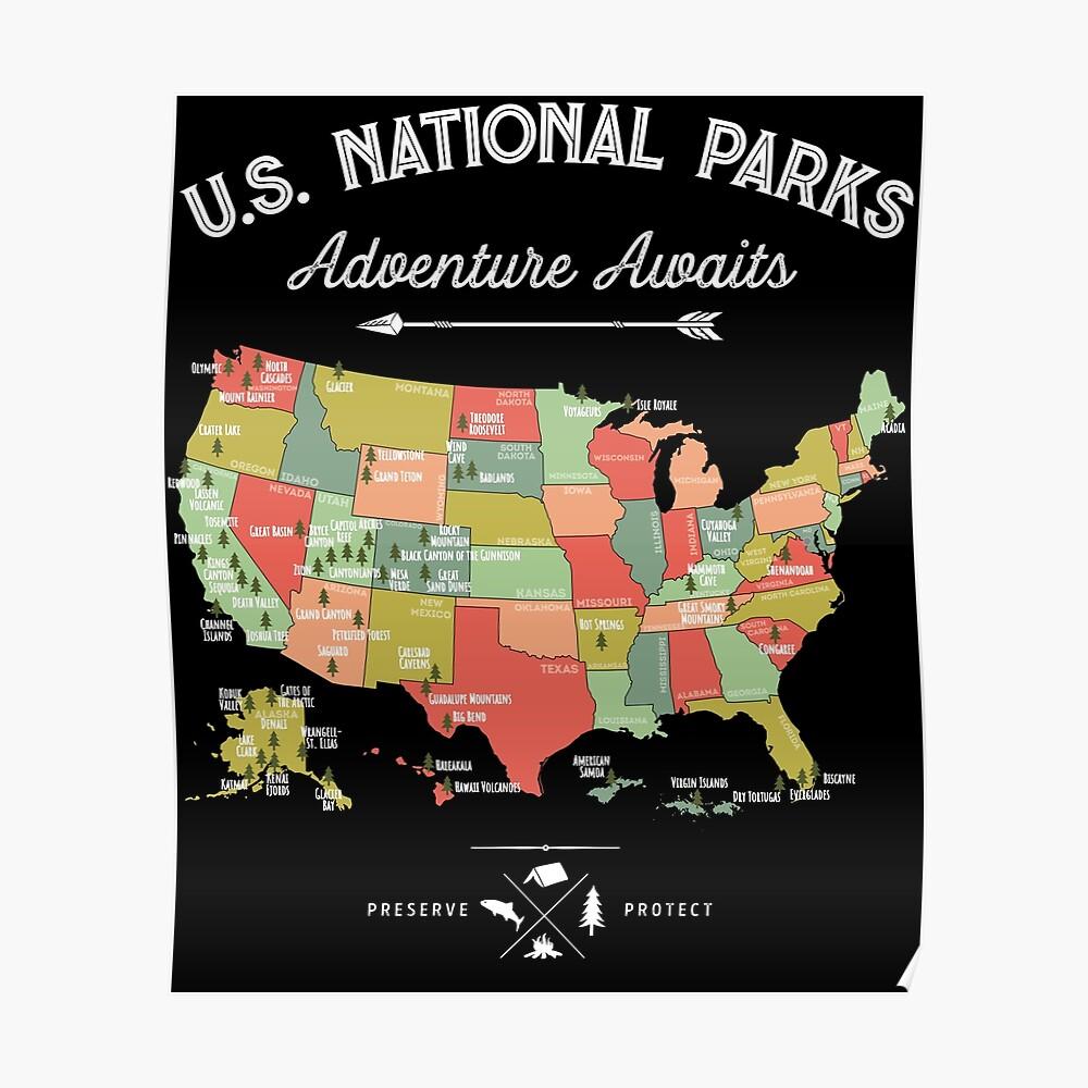 Nationalpark-Karten-Weinlese-T-Shirt - alle 59 Nationalparks Poster