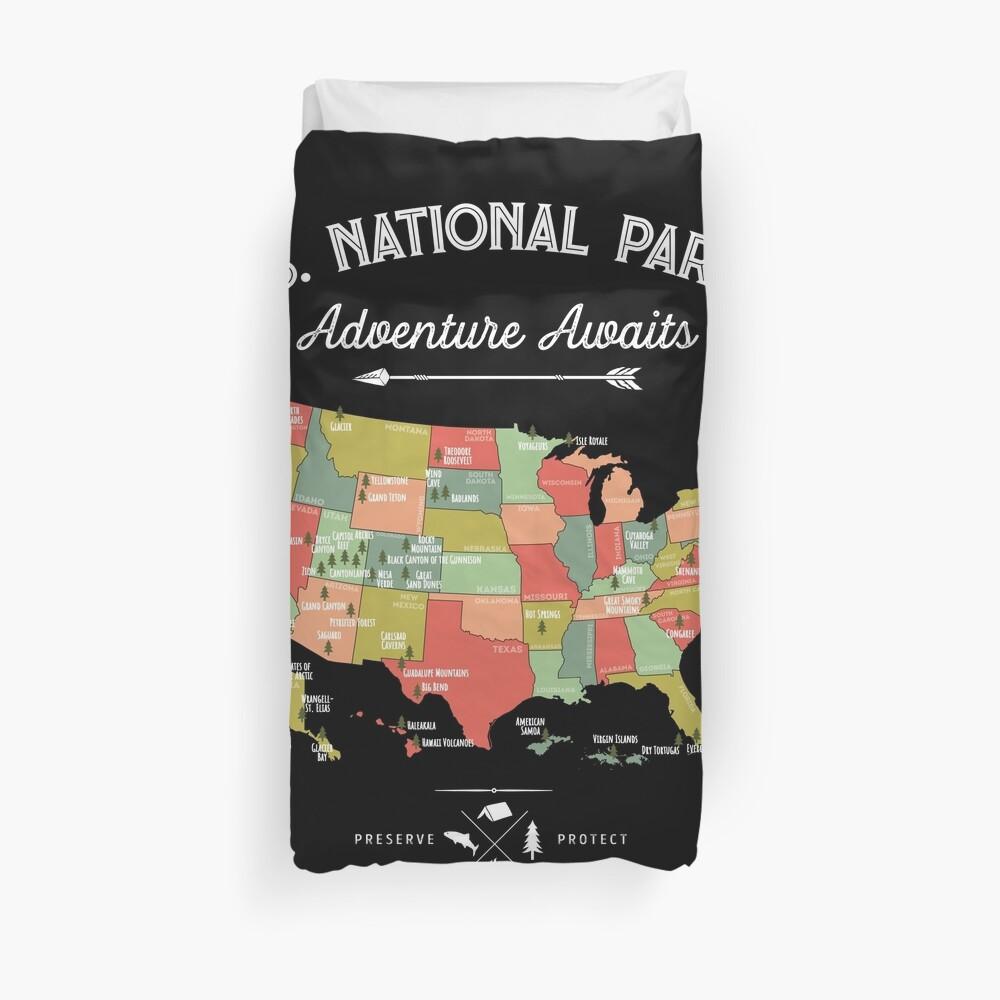 National Park Map Vintage T Shirt - All 59 National Parks Duvet Cover