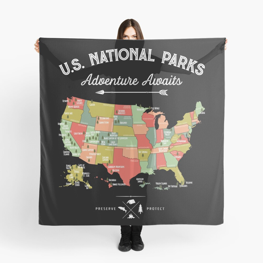 National Park Map Vintage T Shirt - All 59 National Parks Scarf