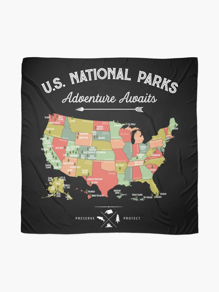 Alternate view of National Park Map Vintage T Shirt - All 59 National Parks Scarf