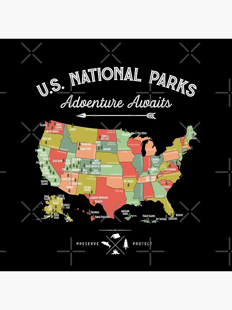 National Park Map Vintage T Shirt - All 59 National Parks by LiqueGifts