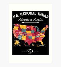 National Park Map Vintage T Shirt - All 59 National Parks Gifts Men Women Kids Art Print