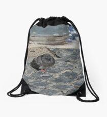 angry pidgeon on the ground Drawstring Bag