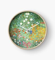 Reloj HD. Jardín de flores, por Gustav Klimt. ALTA DEFINICIÓN