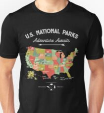 Nationalpark-Karten-Weinlese-T-Shirt - alle 59 Nationalparks Slim Fit T-Shirt