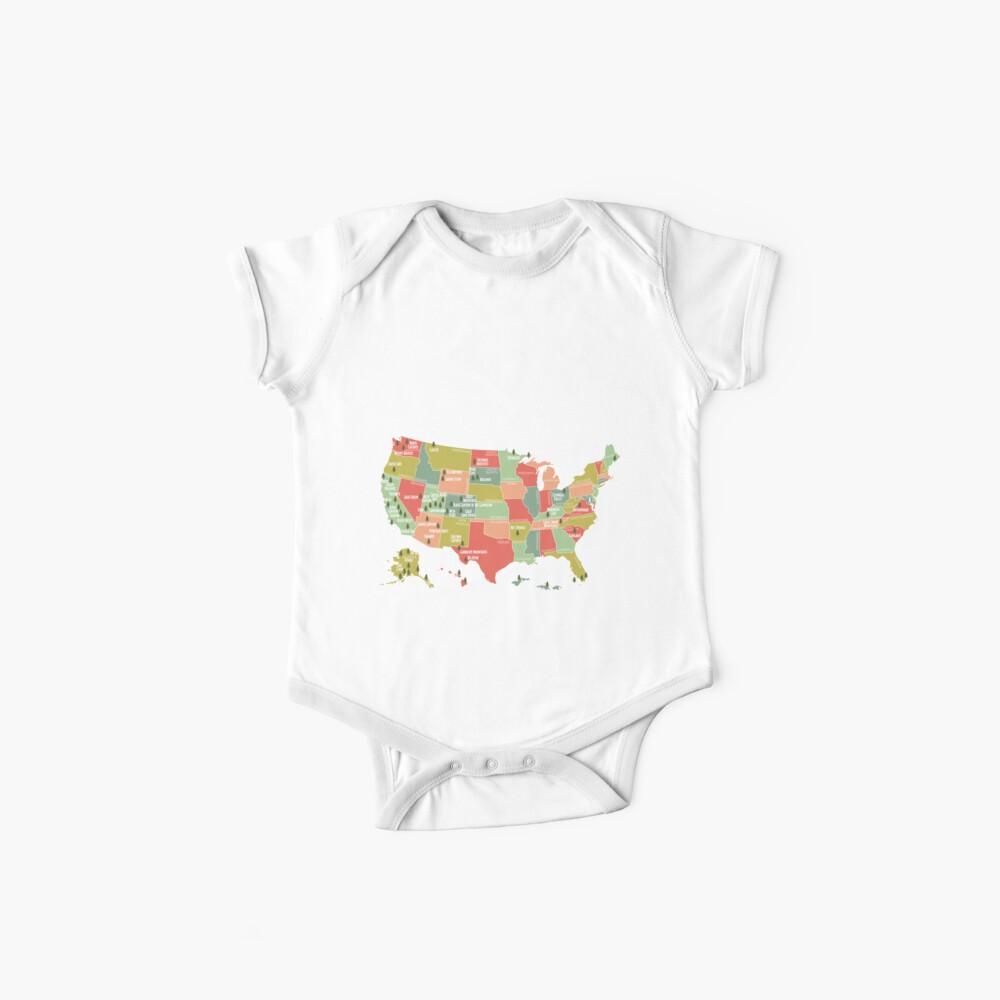 Nationalpark-Karten-Weinlese-T-Shirt - alle 59 Nationalparks Baby Bodys