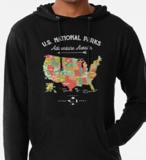 Nationalpark-Karten-Weinlese-T-Shirt - alle 59 Nationalparks Leichter Hoodie
