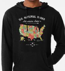 National Park Map Vintage T Shirt - All 59 National Parks Lightweight Hoodie