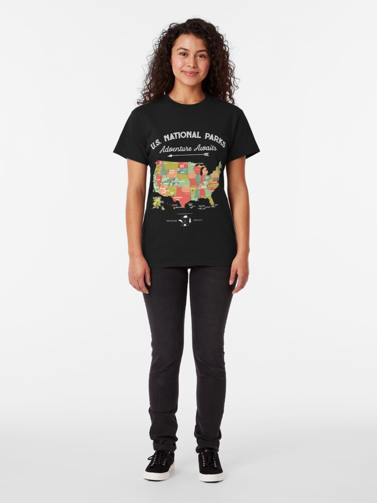 Alternate view of National Park Map Vintage T Shirt - All 59 National Parks Classic T-Shirt