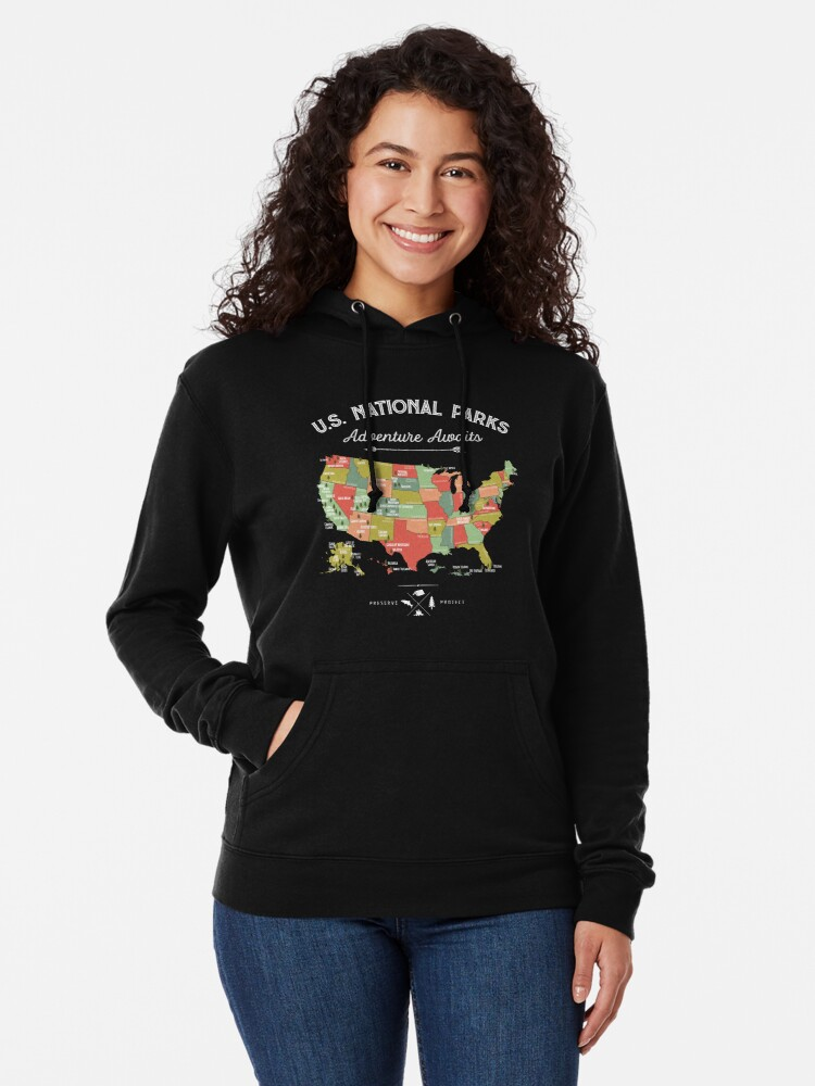 Alternate view of National Park Map Vintage T Shirt - All 59 National Parks Lightweight Hoodie