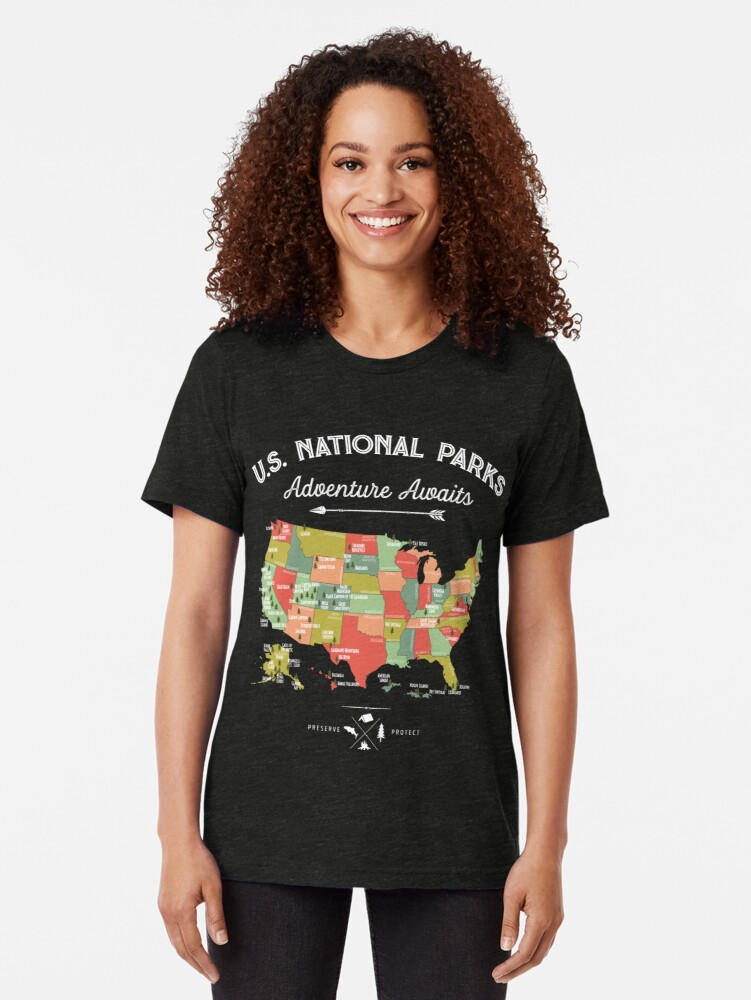 Alternate view of National Park Map Vintage T Shirt - All 59 National Parks Tri-blend T-Shirt
