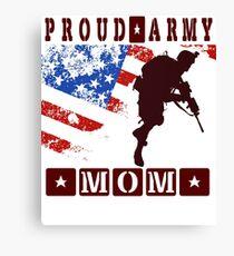 Funny Proud Army Mom Womens US Angel Military crewneck t Shirt Canvas Print