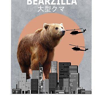 Bearzilla Bear Funny T-Shirt Animal Lover Gift by Ducky1000