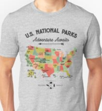 National Park Map Vintage T Shirt - All 59 National Parks Gifts T-shirt Men Women Kids Unisex T-Shirt