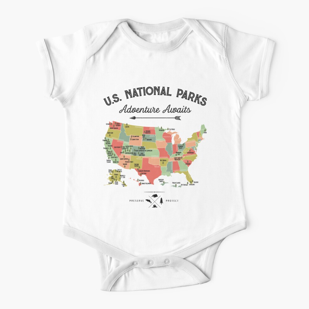 National Park Map Vintage T Shirt - All 59 National Parks Gifts T-shirt Men Women Kids Baby One-Piece