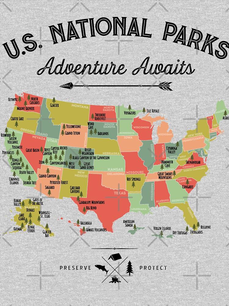 Nationalpark Karte Vintage T-Shirt - Alle 59 Nationalparks Geschenke T-Shirt Männer Frauen Kinder von LiqueGifts