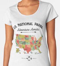 National Park Map Vintage T Shirt - All 59 National Parks Gifts T-shirt Men Women Kids Women's Premium T-Shirt