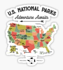National Park Map Vintage T Shirt - All 59 National Parks Gifts T-shirt Men Women Kids Sticker