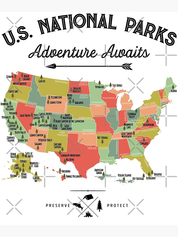 National Park Map Vintage T Shirt - All 59 National Parks Gifts T-shirt Men  Women Kids | Photographic Print