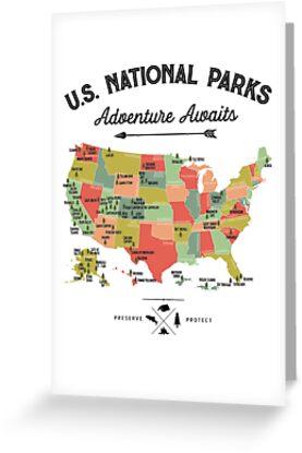 National Park Map Vintage T Shirt