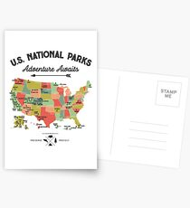 National Park Map Vintage T Shirt - All 59 National Parks Gifts T-shirt Men Women Kids Postcards