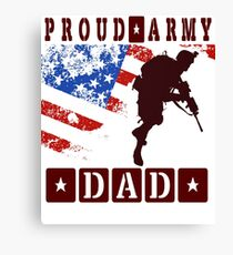 Men's United State Flag Proud Army DAD Tee Shirt Canvas Print