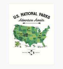 National Park Map Vintage T Shirt - All 59 National Parks Gifts T-shirt Men Women Kids Art Print