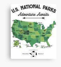 National Park Map Vintage T Shirt - All 59 National Parks Gifts T-shirt Men Women Kids Canvas Print