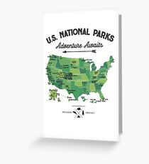 National Park Map Vintage T Shirt - All 59 National Parks Gifts T-shirt Men Women Kids Greeting Card