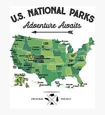 National Park Map Vintage T Shirt - All 59 National Parks Gifts T-shirt Men Women Kids Photographic Print