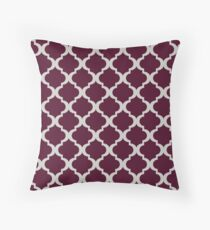 Maroon & Silver Gray Moroccan Style  Throw Pillow