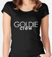 GOLDIE magazine. Goldie crew white on black Fitted Scoop T-Shirt