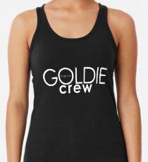 GOLDIE magazine. Goldie crew white on black Racerback Tank Top