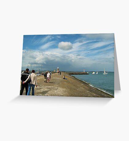 Walk along Howth Pier Greeting Card