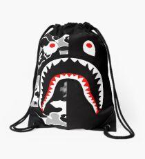 black n white bape Drawstring Bag