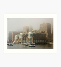 Rowes Wharf In The Mist Art Print