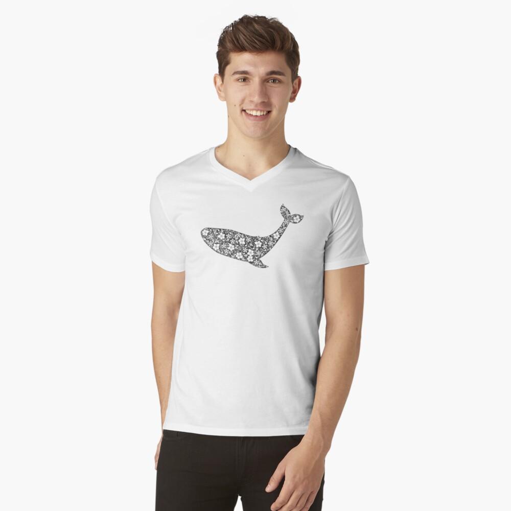 Schattenbild des Wals mit Blumenverzierung T-Shirt mit V-Ausschnitt